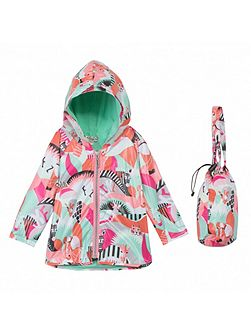Girls hooded raincoat `Animals Party`