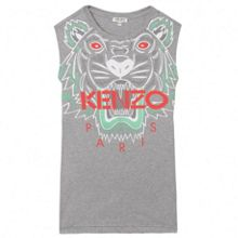 Kenzo Girls grey dress `Tiger Kiosque` theme