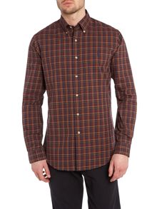 Long sleeve custom fit maroon check twill shirt