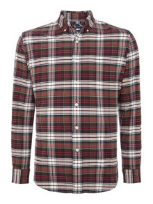 Long sleeve custom fit multi check oxford shirt