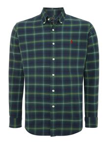 Long sleeve custom fit tartan check shirt
