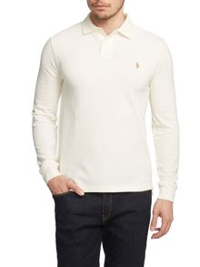 Slim Fit Long Sleeve Mesh Polo Shirt