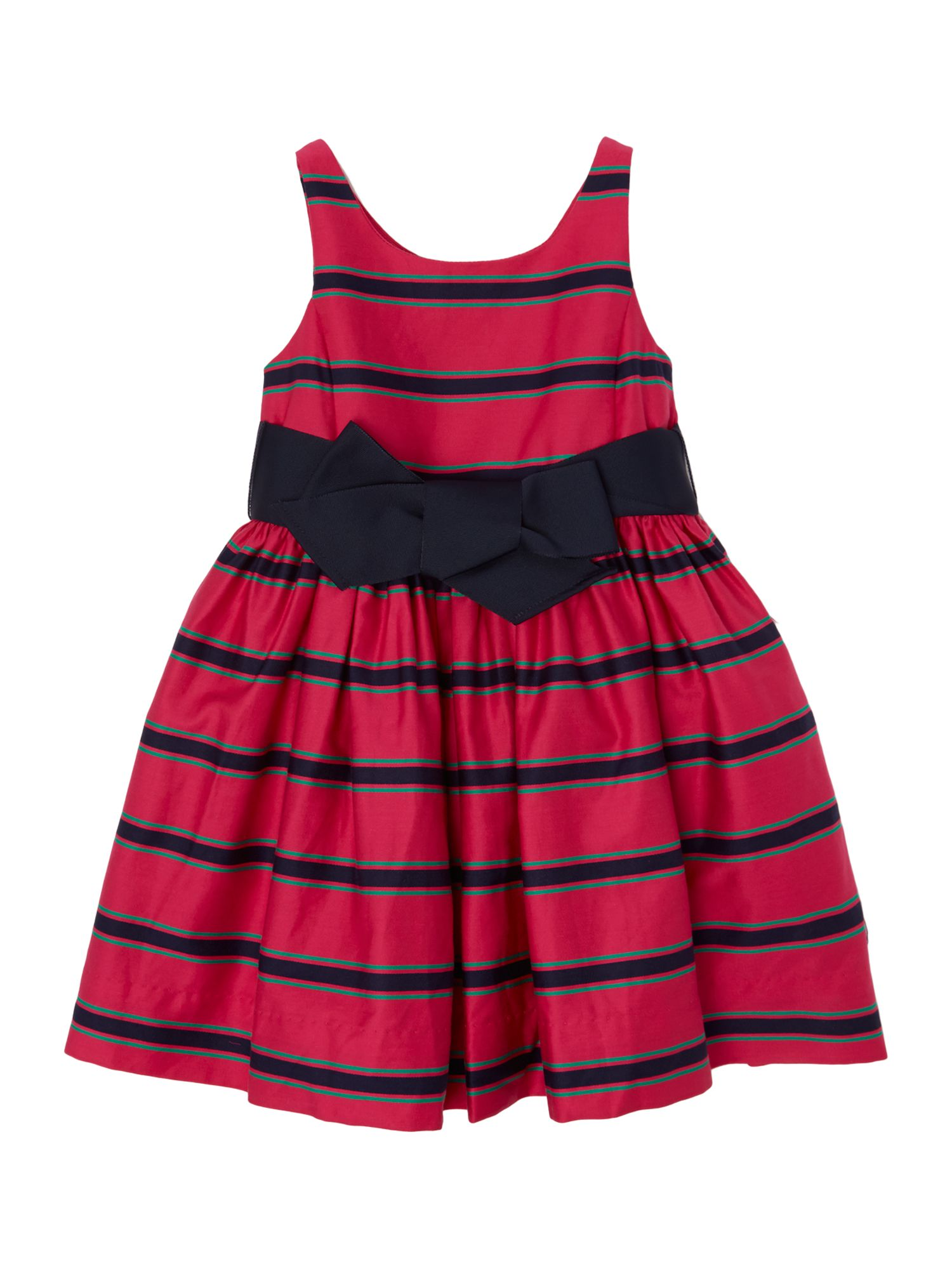 Girls sateen stripe dress with bow