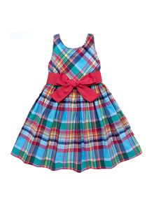 Girls Madras Dress With Ribbon