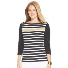 Plus Size 3/4 sleeve boat neck top