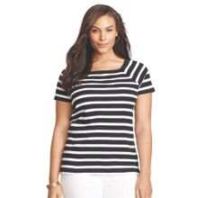 Plus Size Cap sleeved striped t-shirt