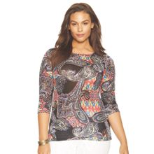 3/4 sleeve printed pattern top with boat neck