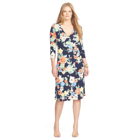 Lauren Woman Plus Size Vea wrap printed dress
