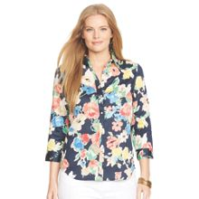Lauren Woman Plus Size Priya 3/4 sleeve printed shirt
