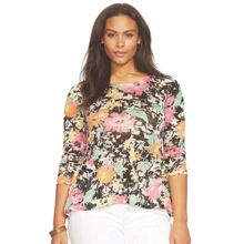 Plus Size Floral print 3/4 sleeve top