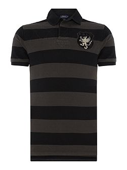 Wide stripe short sleeve polo