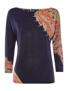 Ladonia 3/4 sleeve top with printed sleeve