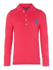 Girls Long Sleeved Polo With Big Pony Player