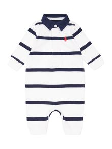Baby boys rugby stripe pony player all in one