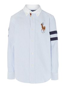 Boys Long Sleeved Oxford Stripe Shirt With Big Po