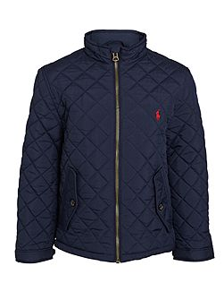Boys Quilted Barn Jacket With Small Pony Player