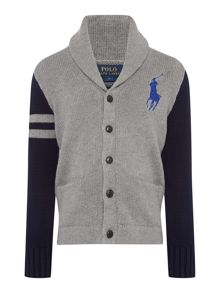 Boys Raglan Cardigan With Big Pony Player