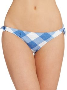 Polo Ralph Lauren Large gingham tie side bikini bottom