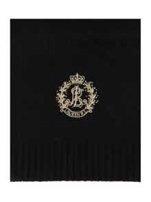 Metallic Crest Embroidered Long Scarf