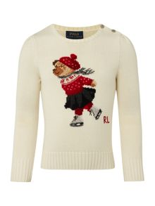 Girls ice skating bear christmas jumper
