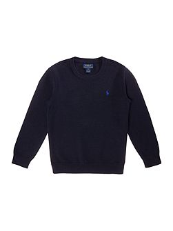 Boys crew neck jumper with small pony player