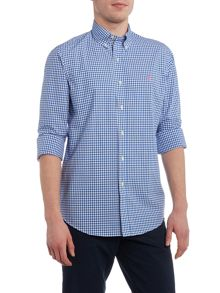 Gingham long sleeve custom fit poplin shirt