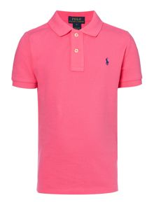 Boy short sleeved polo with small pony player
