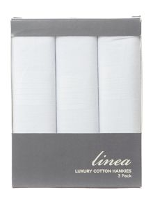 Linea 3 pack cotton plain white handkerchiefs