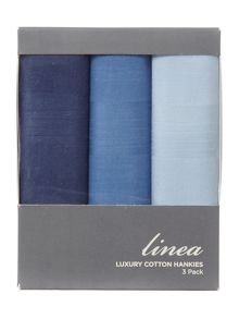 Linea Tonal Blues 3 pack cotton handkerchief set