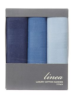Tonal Blues 3 pack cotton handkerchief set
