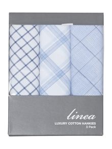 Linea 3 pack cotton blue checked handkerchiefs
