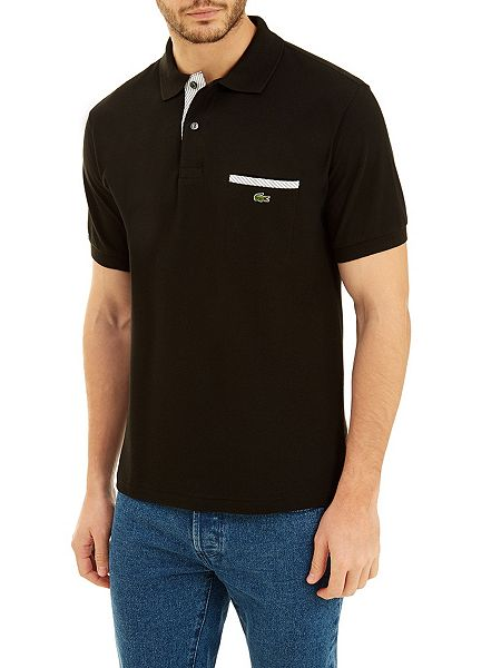 Lacoste contrast pocket polo shirt jet black house of fraser for Two pocket polo shirt