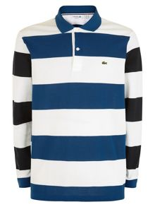 Lacoste Colour Block Stripe Long Sleeve Polo