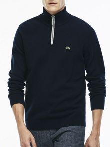 Lacoste Marl Knit Sweater with Zip Collar