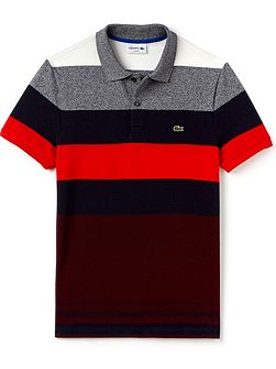Colour Block Striped Polo Shirt