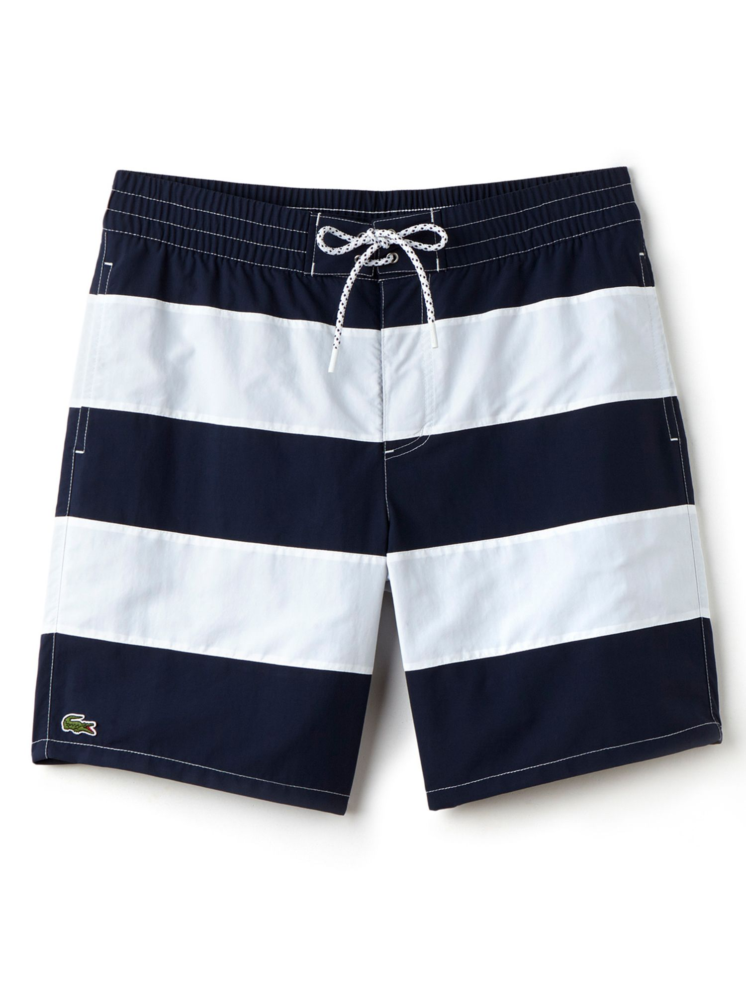 Mens Lacoste Striped Swim Shorts Navy & White