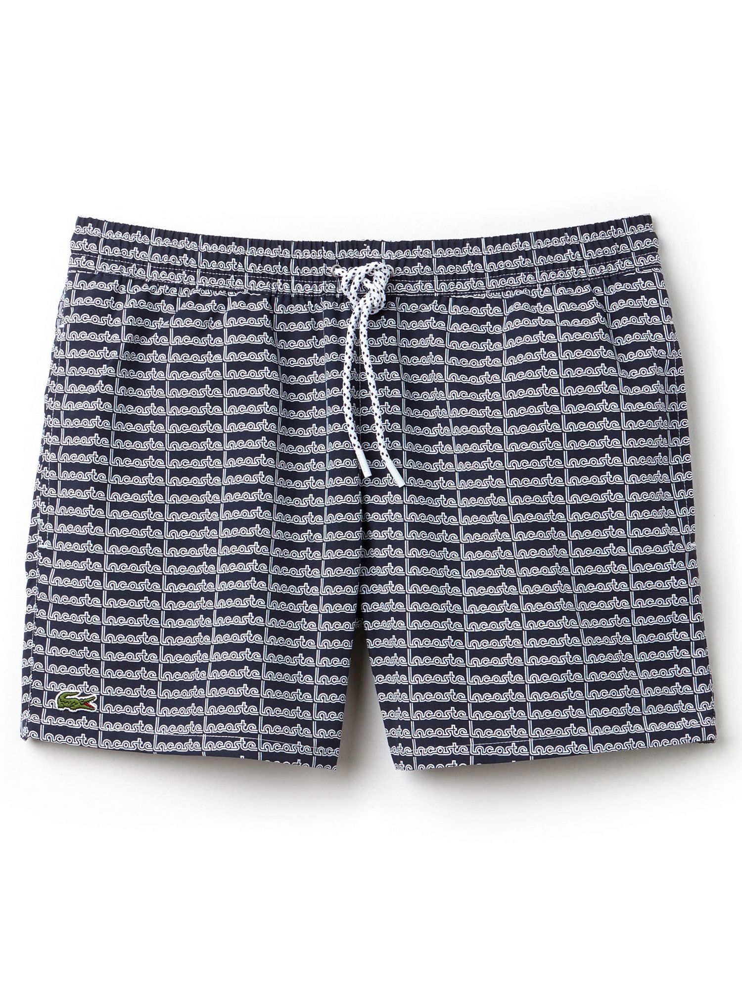 Mens Lacoste Patterned Swim Shorts Navy & White