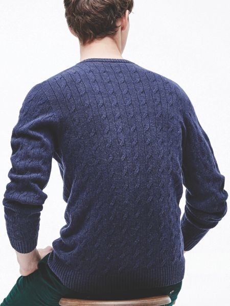 Lacoste Crew Neck Cable Knit Sweater