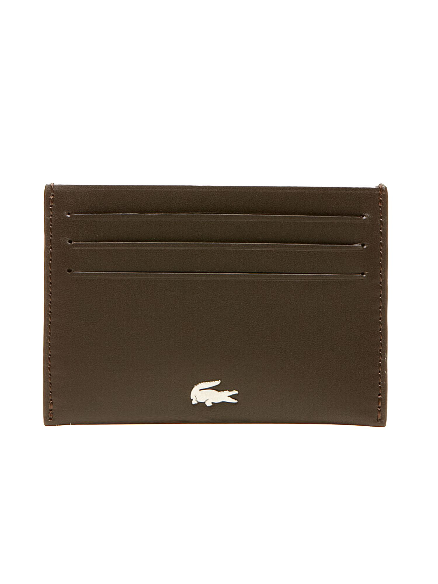 Lacoste Card Holder in Leather, Bottle Green