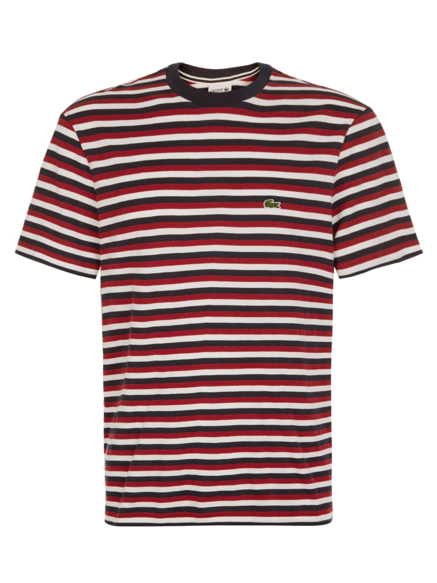 Men's Lacoste Stripped T-Shirt, Turkey Red