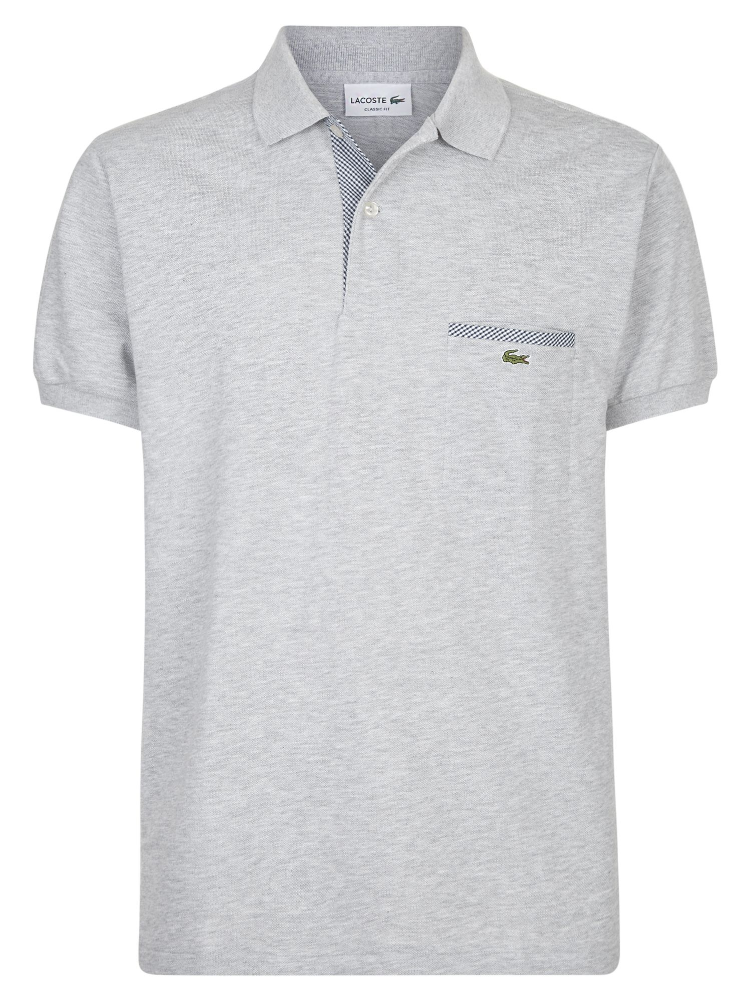 Men's Lacoste Contrast Pocket Polo Shirt, Silver Chine