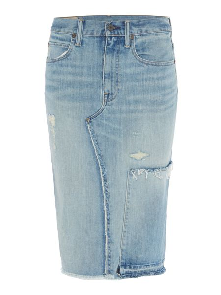 Polo Ralph Lauren Distressed denim midi skirt