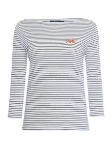 Polo Ralph Lauren Boatneck top in classic stripe
