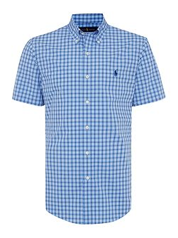 Slim Fit Poplin Check Short Sleeve Shirt