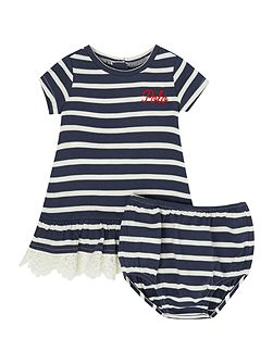 Baby Girls Stripe dress with frill hem