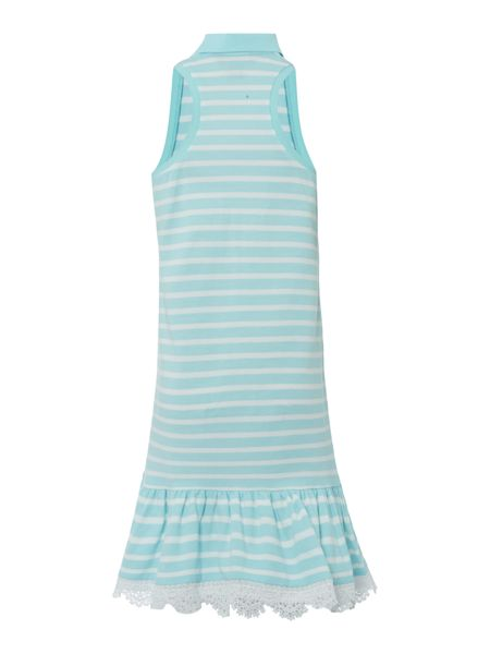 Polo Ralph Lauren Girls Stripe Polo Dress with Lace Hem