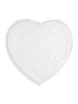 Romantica Heart White Bath Mat - 60x60cm