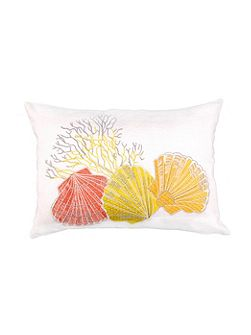 Embroided Coral and Shell Cushion