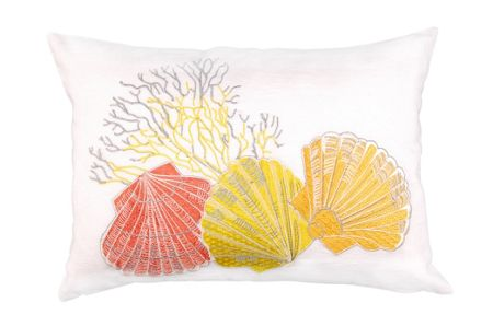 Marinette Saint-Tropez Embroided Coral and Shell Cushion