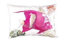 Embroided Fushia Fish Cushion